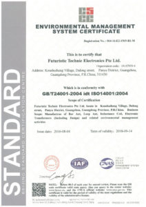 ISO14001 : 2004 Environmental Management System Certificate